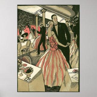 結婚するヴィンテージのアールデコ新婚者は最初に踊ります プリント