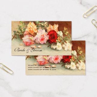 結婚するヴィンテージアンティークのばら色の花の花柄の芸術 名刺