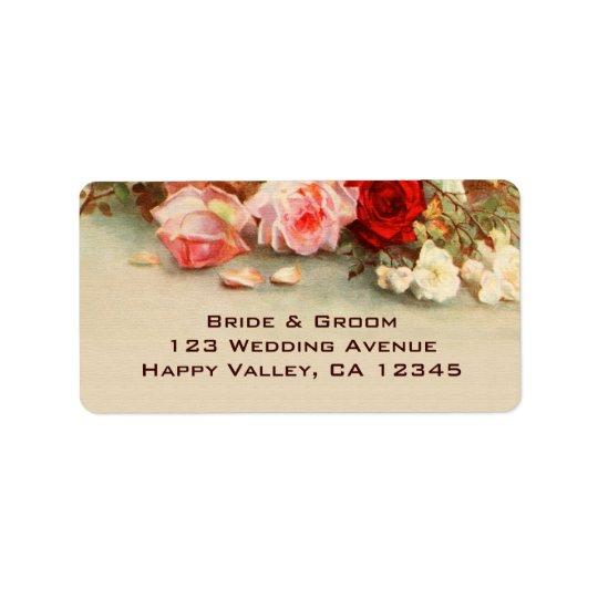 結婚するヴィンテージアンティークのばら色の花の花柄の芸術 宛名ラベル