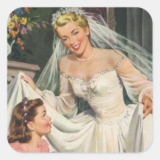 結婚するヴィンテージフラワー・ガールを持つレトロの花嫁 スクエアシール