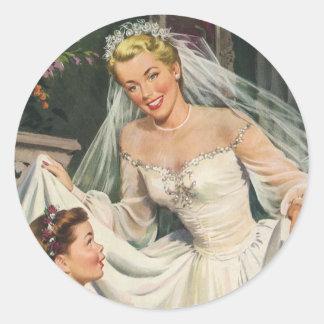結婚するヴィンテージフラワー・ガールを持つレトロの花嫁 ラウンドシール