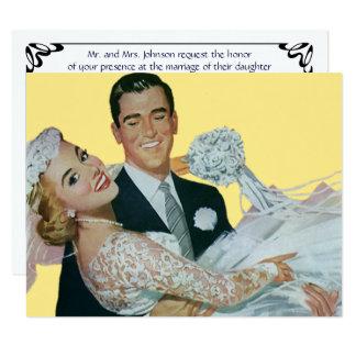 結婚するヴィンテージ幸せな新婚者の招待状 カード
