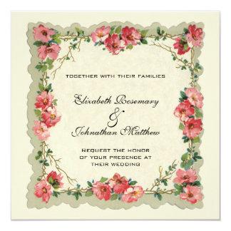 結婚するヴィンテージ花の花のボーダーピンクのバラ カード