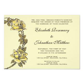 結婚するヴィンテージ黄色く旧式な庭のバラのリース カード