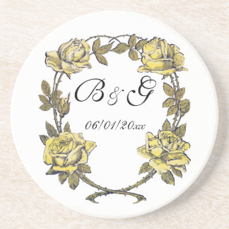 結婚するヴィンテージ黄色く旧式な庭のバラのリース コースター