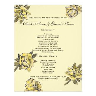 結婚するヴィンテージ黄色く旧式な庭のバラのリース チラシ