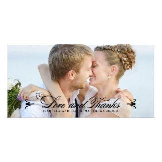結婚する優雅|は写真カード-黒感謝していしています カード