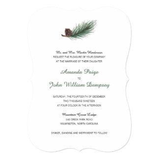結婚する冬のマツ枝およびPinecone   カード