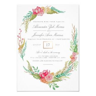 結婚する春の花の水彩画| 12.7 X 17.8 インビテーションカード