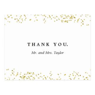 結婚する模造のな金ゴールドの紙吹雪|は郵便はがき感謝していしています ポストカード
