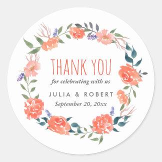 結婚する水彩画の赤い花のリース|は感謝していしています ラウンドシール