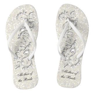 結婚する白い金属花柄及び紙吹雪のグリッター| ビーチサンダル