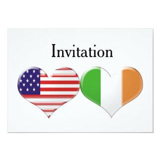 結婚する米国及びイタリアンなハートまたは婚約の招待状 カード