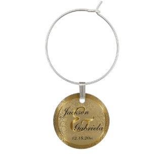 結婚する美しく旧式な金ゴールドの花のダマスク織| ワインチャーム