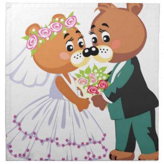 結婚のテディー・ベアの接吻 ナプキンクロス