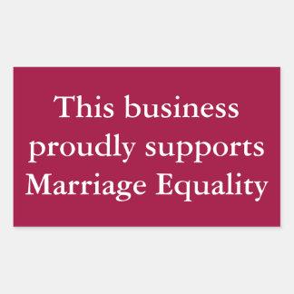 結婚の平等サポート(色をカスタマイズ) 長方形シール