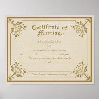 結婚の芸術のプリントの証明書 ポスター