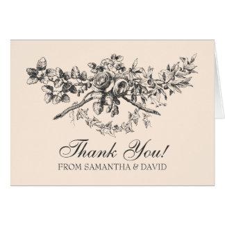 結婚はヴィンテージの花の装飾の黒感謝していしています グリーティングカード
