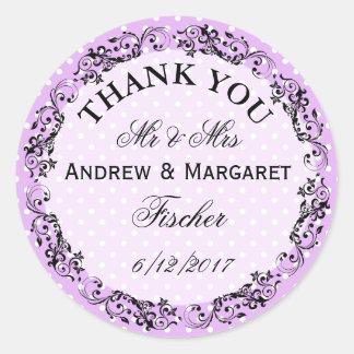 結婚は名前入りなノートのステッカー感謝していしています ラウンドシール
