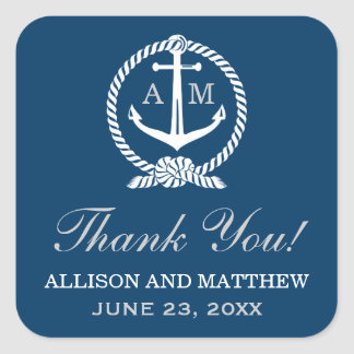 結婚は好意のステッカー|の航海のなテーマ感謝していしています スクエアシール