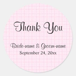 結婚は感謝していしています。 淡いピンクの点検および黒いテキスト ラウンドシール