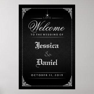 結婚への黒いハロウィンのゴシック様式くもの歓迎 ポスター