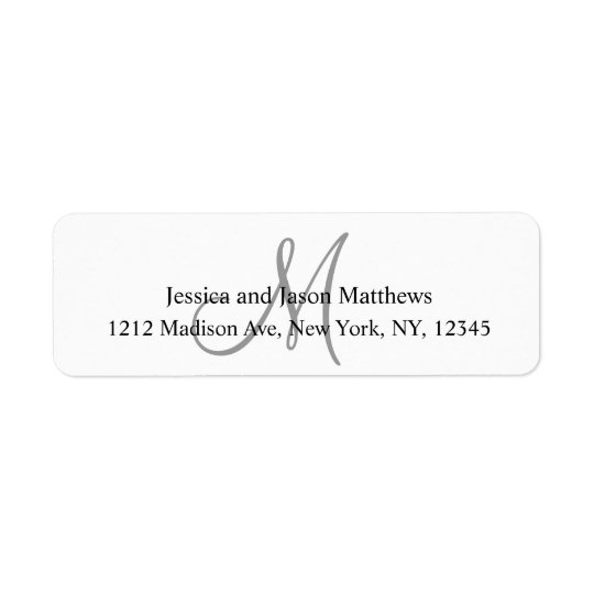 結婚式のための灰色のモノグラムの差出人住所ラベル 返信用宛名ラベル