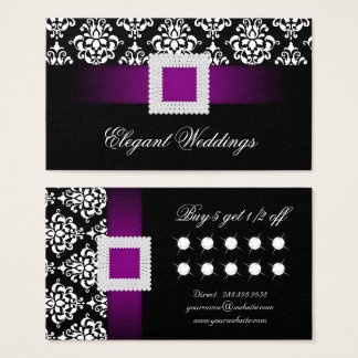 結婚式のイベントプランナーのジュエリーの紫色のロイヤリティカード 名刺