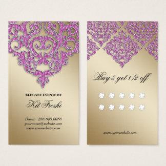 結婚式のイベントプランナーのダマスク織の金ゴールドの輝きのロイヤリティ 名刺