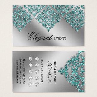 結婚式のイベントプランナーのダマスク織の銀のティール(緑がかった色)のロイヤリティ 名刺