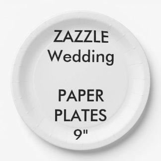 結婚式のカスタムで使い捨て可能なパーティの紙皿9つ ペーパープレート