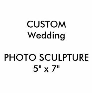 """結婚式のカスタムなフォトスカルプチャー5"""" x 7"""" 写真彫刻(台付き)"""