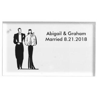 結婚式のカップルのテーブルカードホルダー