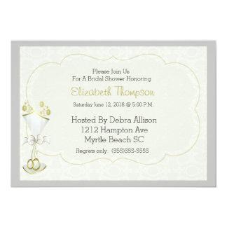 結婚式のガラス快活なダマスク織のブライダルシャワーの招待 12.7 X 17.8 インビテーションカード