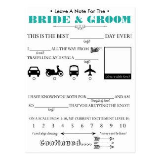 結婚式のゲストのアドバイスカード ポストカード