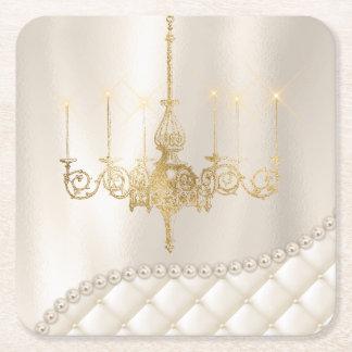 結婚式のシャンデリアの照明のアイボリーはコースターを真珠で飾ります スクエアペーパーコースター