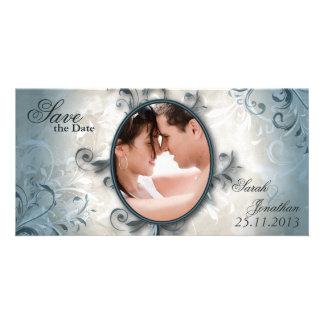 結婚式のセーブ・ザ・デート案内のヴィンテージの群葉 写真グリーティングカード