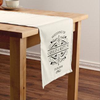 結婚式のテーブルのランナー|の黒いモノグラム ショートテーブルランナー