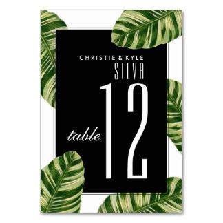 結婚式のテーブルの第|ヴィンテージのヤシの木のビーチ カード