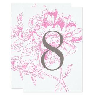 結婚式のテーブルの第|明るい赤紫色の花のシャクヤクのデザイン カード