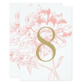 結婚式のテーブルの第|珊瑚の花のシャクヤクのデザイン カード