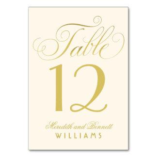 結婚式のテーブルの第|金ゴールドの原稿のモノグラム カード