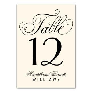 結婚式のテーブルの第|黒い原稿のモノグラム カード