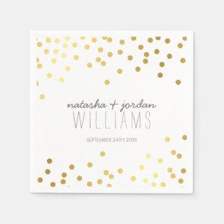 結婚式のテーブルの装飾のかわいい紙吹雪の点金ゴールドの灰色 スタンダードカクテルナプキン