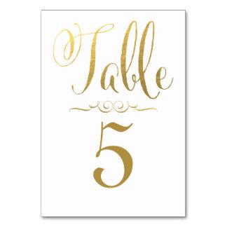 結婚式のテーブル数は名前入りな金ゴールドホイルを梳きます カード