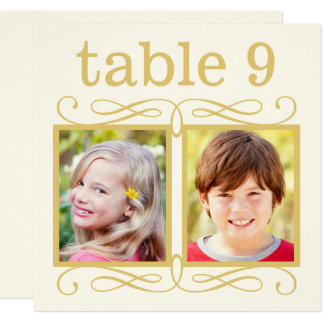 結婚式のテーブル数は|の花嫁を梳きます + 新郎の写真 13.3 スクエアインビテーションカード