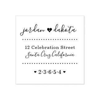 結婚式のハートの名前をカスタムするの原稿の差出人住所 ラバースタンプ