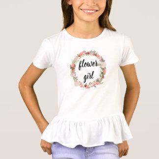 結婚式のピンクの花のリースのフラワー・ガールの上 Tシャツ