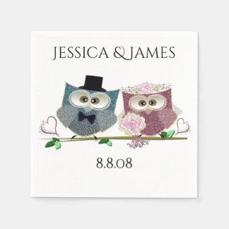 結婚式のフクロウは紙ナプキンを個人化します スタンダードカクテルナプキン