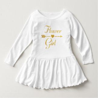 結婚式のブライダルシャワーのグリッターの金ゴールドのフラワー・ガール ドレス